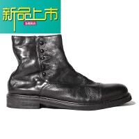 新品上市皮靴男复古真皮英伦中帮软底套脚短靴松紧带圆头百搭马丁靴