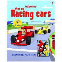 进口英文原版 发条小汽车 含轨道 Wind-up Racing Cars 儿童玩具礼品书 跑跑乐地板玩具书发条轨道书: