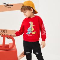 【2件3折价:116.7】迪士尼童装2020春装新款男童孩卫衣套装春秋宝宝帅气运动两件套潮