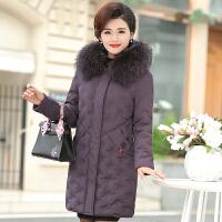 妈妈棉袄女冬装外套新款中老年羽绒中长款40岁50中年人棉衣秋