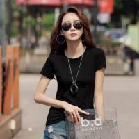棉白色短袖t恤女修身夏装新款韩版圆领紧身百搭纯色上衣潮