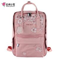 花间公主樱花双肩背包女尼龙春季户外旅行背包休闲刺绣书包