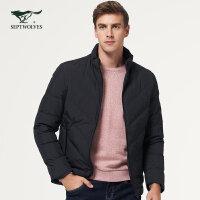 七匹狼羽绒服冬季青年男士时尚休闲外套潮纯色保暖立领短款