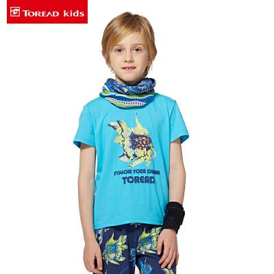 【3折到手价:45】探路者儿童童装 春夏款户外童装男童印花圆领短袖透气T恤TTWK35142-D