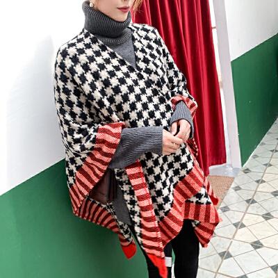 上海故事新款澳洲羊毛羊绒混纺高品质经典拼色秋冬季女超大围巾披肩