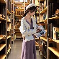 俏皮女神范套装长裙网红御姐赫本风矮个子针织毛衣裙子两件套秋冬 图色外套+紫色吊带裙