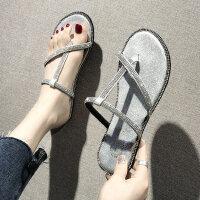 平底水钻人字拖女户外时尚百搭沙滩凉拖鞋外穿可湿水