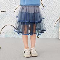 【秒杀价:153元】马拉丁童装女大童腰裙春装2020年新款网纱拼接百搭半身裙短裙