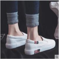 新款小白鞋女帆布鞋韩版百搭一脚蹬学生平底休闲懒人布鞋