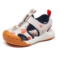 巴布豆bobdoghouse童鞋男童凉鞋2021年夏季宝宝防包头机能鞋子-卡其
