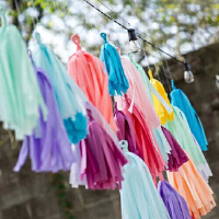 孩派 生日装饰 纸拉花  派对布置 背景装饰  纸流苏丝带 5个/包