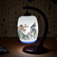 陶瓷灯具粉彩薄胎卧室床头现代中式仿古典台灯