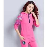 透气休闲套装 跑步装女运动装 时尚修身韩版新款棉衣运动套装