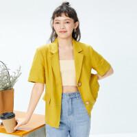诗凡黎西装外套女2021年新款夏薄款黄色五分袖休闲亚麻小西装西服