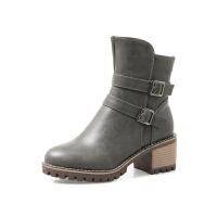 BANGDE2018秋冬韩版粗跟短靴女圆头百搭高跟皮靴休闲复古厚底马丁靴