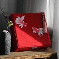 古典中式礼物文艺 刺绣大首饰盒带锁化妆盒嫁妆盒结婚礼品