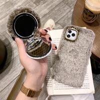 iphone11promax手机壳秋冬新款6plus獭兔毛补妆镜7plus女款xr硅胶潮xs毛绒xs max可爱8pl