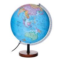 MQ3002博目大号30cm中英文政区立体地球仪 高清摆件带灯光 地理学习立体地形蜿蜒起伏 家居装饰工艺礼品 实木底座