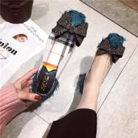 2019春季新款方头平底鞋气质水钻蝴蝶结单鞋平跟透明女鞋单鞋潮