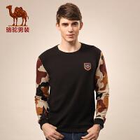 Camel/骆驼男装 新款商务休闲迷彩拼接长袖卫衣 圆领绣标时尚
