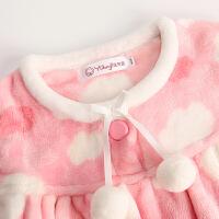 女童法兰绒睡衣 小女孩秋冬装加厚款 儿童家居服 宝宝套装