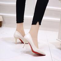 工作鞋女士四季鞋2018秋季新款韩版黑色高跟鞋女细跟单鞋尖头职业 米白色 7厘米