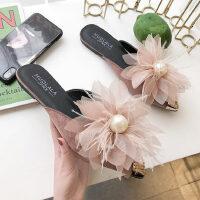 韩版平底包头女士单鞋 时尚外穿半拖鞋女 新款百搭尖头穆勒鞋女珍珠花朵
