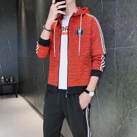 男士卫衣2020秋季新款开衫潮流休闲学生宽松百搭跑步运动两件套装
