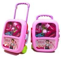 �和�玩具女孩化�y盒仿真�^家家梳�y�_收�{箱3-6周�q公主生日�Y物 HW-6604美��女孩