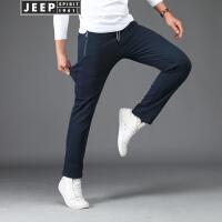 JEEP SPIRIT吉普男装卫裤春秋运动休闲裤跑步运动长裤舒适棉质微弹直筒裤子
