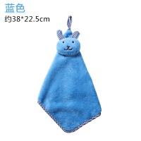卡通擦手巾可挂式珊瑚绒加厚擦手布厨房吸水毛巾清洁抹布手帕挂巾y 蓝色 26g(10条装) 38x22.5cm