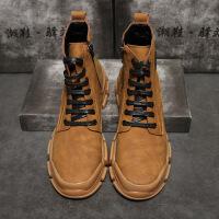 马丁靴男潮短靴秋季休闲鞋复古男靴子中高帮男士英伦风工装鞋 驼色 38