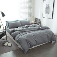棉纯色磨毛四件套1.8m床上用品 床单床笠款被套三件套1.5米k 浅灰色 -单色