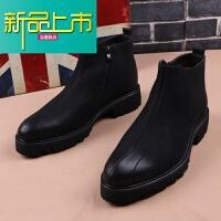 新品上市加绒休闲高帮皮鞋男尖头短靴韩版马丁靴潮内增高型师靴子