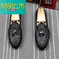 新品上市英伦尖头套脚小皮鞋男青年潮流一脚蹬懒人鞋夏季透气豆豆鞋单