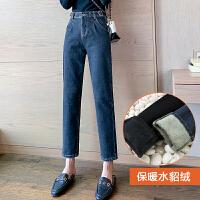 安妮纯高腰加厚加绒牛仔裤女2019新款冬季宽松港味直筒裤