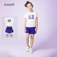 安奈儿童装女童休闲背心套装2019夏装新款儿童套头短袖裤子两件套