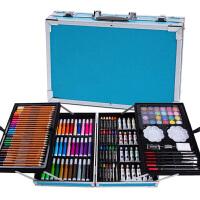 儿童画笔套装礼盒画画工具小学生水彩笔美术绘画学习用品生日礼物 豪华铝盒套装(蓝色)