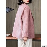 双面羊绒大衣女短款2018新款流行格子粉色高端韩版毛呢外套