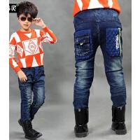 新款韩版休闲童装男童牛仔裤夹棉加厚加绒儿童长裤棉裤