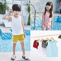 儿童背心套装夏装宝宝竹节棉薄两件套潮男女童纯色潮