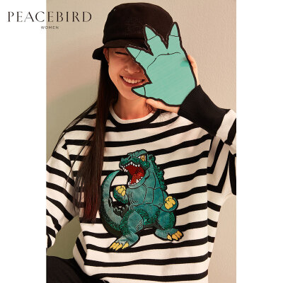 哥斯拉圆领条纹亮片套头毛衣女2019新款春装卡通宽松针织衫太平鸟 哥斯拉联名款 宽松版型