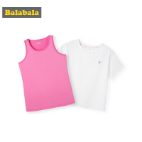 巴拉巴拉童装女童打底衫中大童夏装2019新款短袖T恤运动背心套装