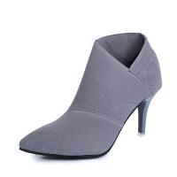 2019春季新款高跟短靴女弹力靴英伦尖头马丁靴显瘦细跟及踝靴