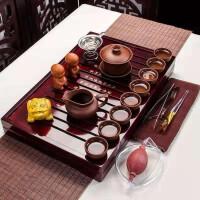 功夫茶具套装家用整套简约实木茶具茶盘茶壶全紫紫砂茶博士盖碗套装茶具