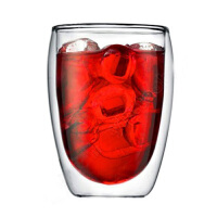 耐热咖啡杯果汁饮料杯子350ml 双层玻璃杯隔热透明蛋形茶杯创意水杯