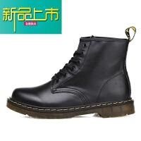 新品上市14马丁靴男英伦中帮6孔短靴真皮系带情侣靴子工装男女靴鞋 黑色