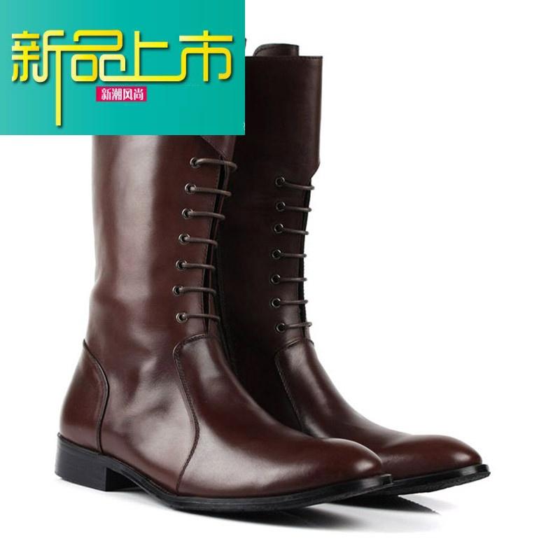 新品上市冬季马靴高筒靴英伦马丁靴男士长靴子休闲真皮靴长筒系带工装靴   新品上市,1件9.5折,2件9折