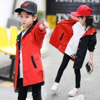 儿童风衣 女童休闲时尚外套2020年秋季女孩儿童正反穿卡通连帽双面穿夹克