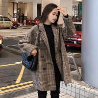 安妮纯chic韩版宽松格子毛呢外套女短款小个子西装呢子大衣学生秋冬新款